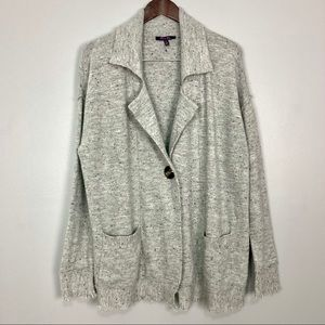 Olivia Sky Soft Knit Cardigan Sweater Fringe Trim